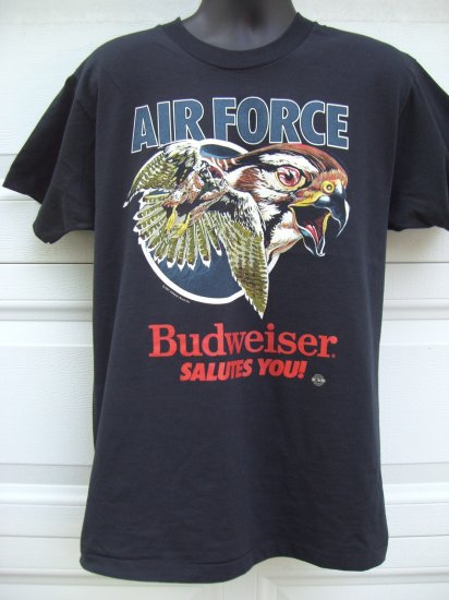 SOLD! Vintage 1987 USAF AIR FORCE & BUDWEISER Promo Large T-Shirt  Eagle in Flight