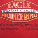 Rare Vintage EAGLE MOTORCYCLE Medium T-Shirt Red Closed Minneapolis MN Dealer
