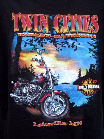 SOLD! HARLEY DAVIDSON Large or XL T SHIRT Twin Cities Minnesota Dealer WOW! Graphics on TWO Sides!