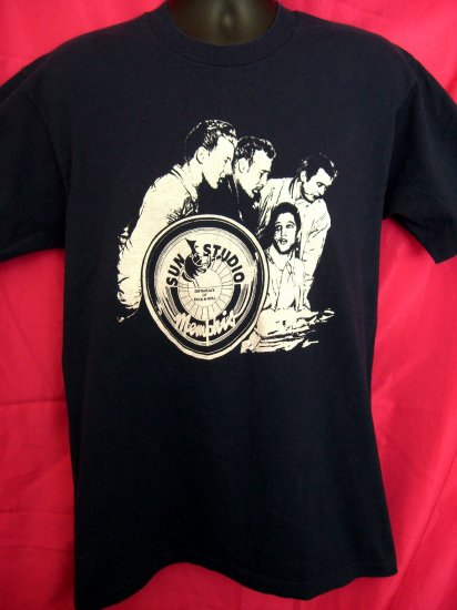 HOLD Sun Studio Young Elvis Presley Medium or Large T-Shirt  Blue Musicians Memphis TN