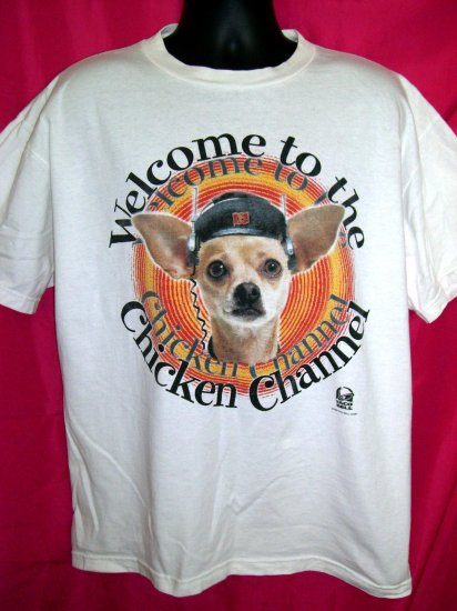 VINTAGE TACO BELL XL T SHIRT With the Chihuahua and the Chicken Channel 1998 Near Mint!