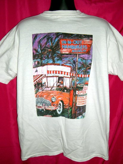 SOLD! Classic Vintage 1989 IN-N-OUT Burger XL White T-Shirt Cool!