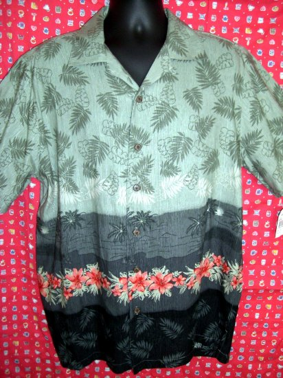 SOLD! Havana Jack's Cafe NWT Green Floral Print Hawaiian Shirt Size MEDIUM 100% Silk
