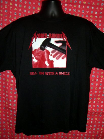 SOLD! Rare Defunked Christian Metal Band NODES of RANVIER Kill 'Em With A Smile XL Black T-Shirt