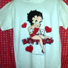 Vintage 1995 Betty Boop Large White T-Shirt Hearts