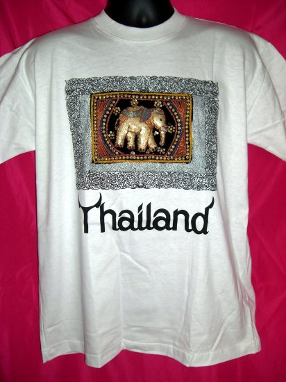 Thai Thailand Medium or Large White T-Shirt  ELEPHANT