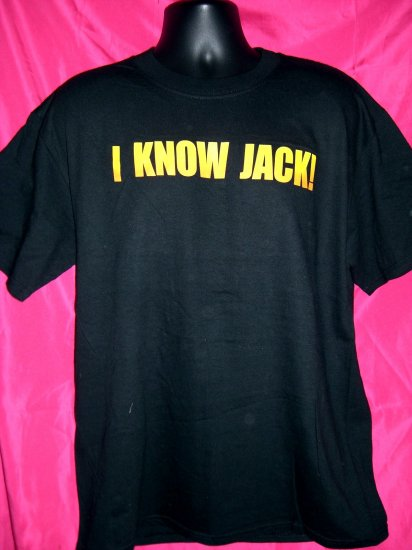 SOLD!  I KNOW JACK Large NEW T-Shirt  Jack Daniels Bottle on Back of T-Shirt With Tag!