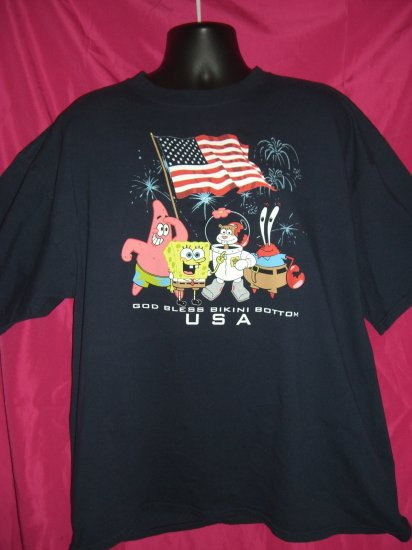 SOLD! SpongeBob / Sponge Bob  SquarePants XL or XXL T-Shirt God Bless Bikini Bottom USA