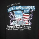 Sturgis SD Motorcycle Rally & Races 2003 XL T-Shirt 63rd Annual  FEEL THE THUNDER