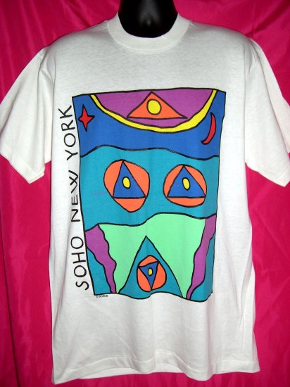 Rare Large T-Shirt SOHO NYC New York City Manhattan White ART by Doron