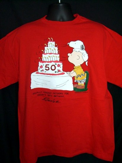 SOLD! Rare Peanuts 50th Birthday XL Red T-Shirt Schultz Charlie Brown & Birthday Cake!
