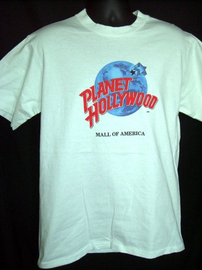 Closed PLANET HOLLYWOOD Size MEDIUM White T-Shirt Mall of AMERICA MN