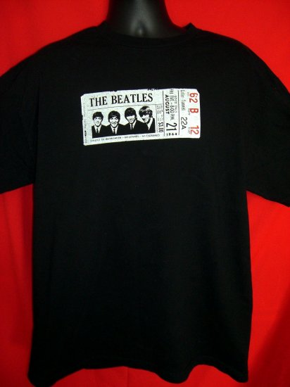 The Beatles Large / XL Black T-Shirt Ticket Graphic ~ Concert August 21 1964 Great Birthday Present