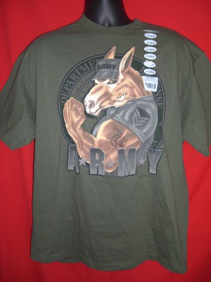 SOLD! NEW ARMY MUSCLE XL Military Green T-Shirt ARMY MULE NWT DOD