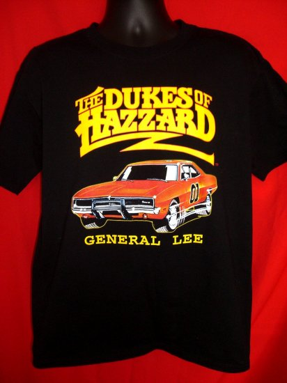 SOLD! The Dukes of Hazard GENERAL LEE Car Large Black T-Shirt