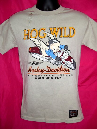 SOLD! Rare Harley Davidson Warner Bros SMALL T-Shirt  Porky Pig ~ HOG WILD~ Pigs Can Fly