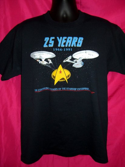 Vintage Star Trek 25th Anniversary Large T-Shirt 1991 50/50 Near Mint! TREKKIE MUST!