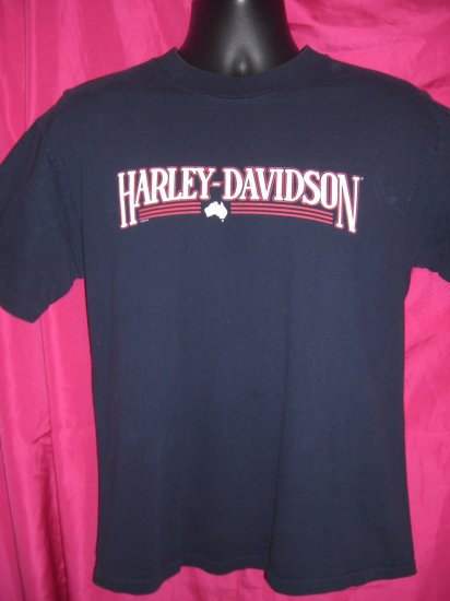 Harley Davidson Austrailia Dealer Size Medium ~ Dark Blue T-Shirt ~ Circa 2000 Frilled Neck Lizard