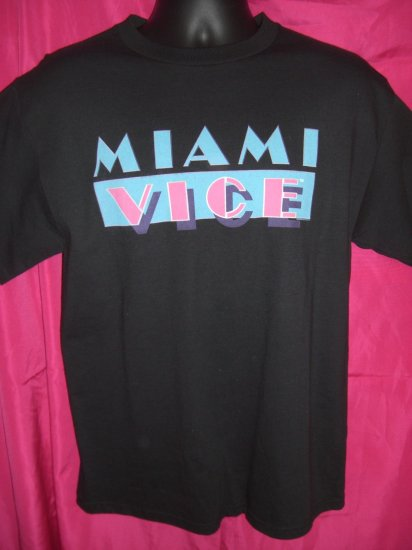 SOLD! TV Show  Movie ~ MIAMI VICE Cool Retro Medium Black T-Shirt NEW!  NWT