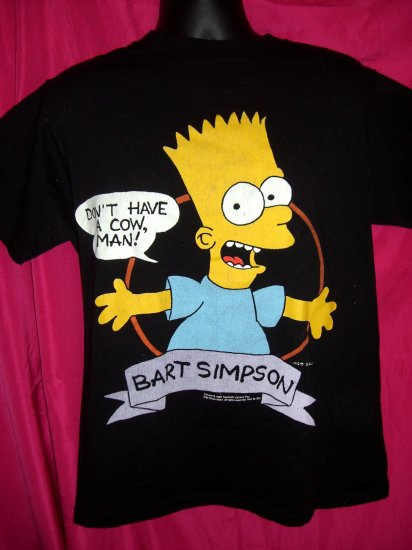 SOLD! Vintage Bart Simpson Medium T-Shirt  Cartoon THE SIMPSONS Don't Have A Cow Man!