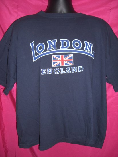London England XL or  XXL Navy Blue T-Shirt ~ Union Jack UK