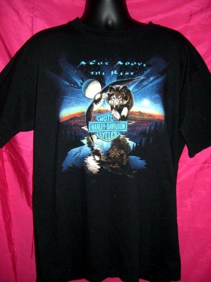 Harley Davidson Dealer XL Black T-Shirt ~ Twin Cities Minnesota Wolf Eagle  Vintage 1997