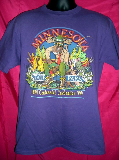 SOLD! Funny Minnesota Size MEDIUM T-Shirt State Parks Centennial ~ Vintage 1991 ~ Moose Camping