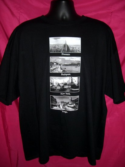 NWT Funny XXL 2XL Black T-Shirt Florence Budapest New York Fargo ND North Dakota