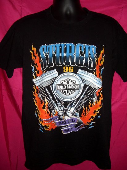 SOLD! 1996 Sturgis Bike Week Rally Harley Davidson Black Large T-Shirt