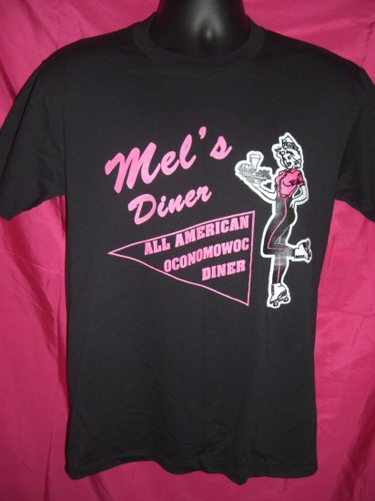 SOLD! Thin Vintage Black Size Medium T-Shirt MEL'S DINER  All American Oconomowoc Diner ~ Wisconsin