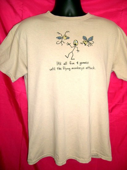 SOLD! Funny Med T-Shirt ~ It's all fun and games until the flying monkeys attack