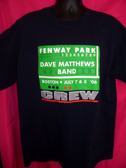 SOLD! Rare FENWAY PARK DAVE MATTHEWS BAND Boston Concert 2006 CREW XL T-Shirt