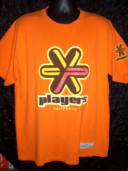 SOLD! Old School Circa 1999 ~ XL Orange T-Shirt  PLAYERS UNIVERSITY T-Shirt