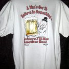 Vintage 1991 Funny Rare XL White T-Shirt Beer Mug WC Fields