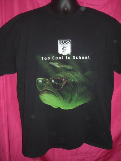 Bass Fishing Large or XL T-Shirt  ~ TOO COOL TO SCHOOL ~ Lucky Fishing Shirt?!