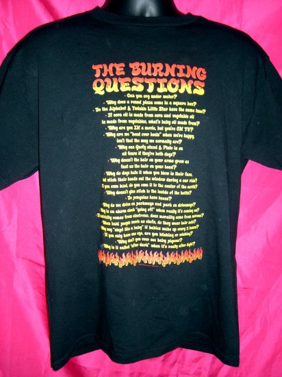 SOLD! Funny Medium or Large Black T-Shirt BURNING QUESTIONS ~ Conversation starters!