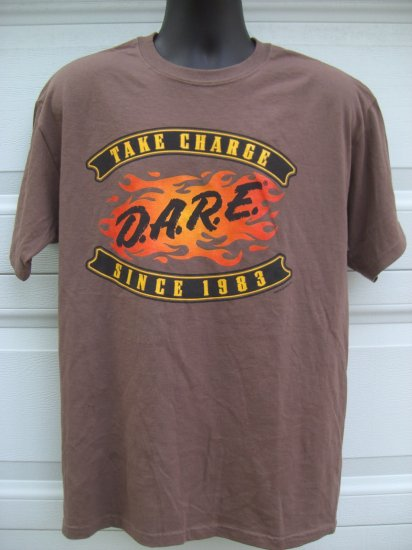 D.A.R.E. DARE TAKE CHARGE SINCE 1983 Brown Size LARGE T-Shirt