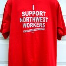 Rare NWA Union ~  Northwest Airlines STRIKE Red T-Shirt Size XL
