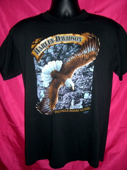 Rare Vintage 3D 1991 Harley Davidson Sturgis Medium T-Shirt Eagle ~ Free Shipping!
