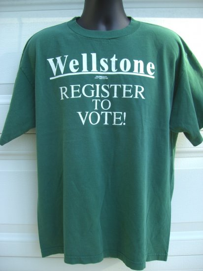 SOLD!  Rare Vintage Paul Wellstone Large XL T-Shirt REGISTER TO VOTE Democratic Liberal Senator MN