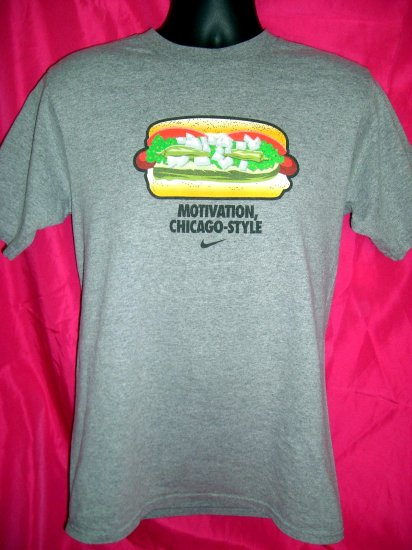 SOLD! Size Medium Nike Grey T-Shirt ~ MOTIVATION CHICAGO STYLE Hot Dog with Everything