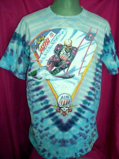 SOLD! Rare 1994/1995 US Ski Team & Grateful Dead Tie Dye XL T-Shirt