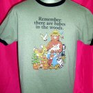 "Smokey Bear Size Medium Ringer T-Shirt ""Remember There Are Babes In The Woods"""