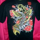 Beautiful Unique Coy or Koi Fish Black T-Shirt Size Large