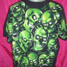Unique Cool Green Skull / Skulls T-Shirt Size XL  or XXL ~ Liquid Blue Brand