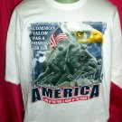 Patriotic XXL White T-Shirt AMERICA Land of the Free Home of the Brave