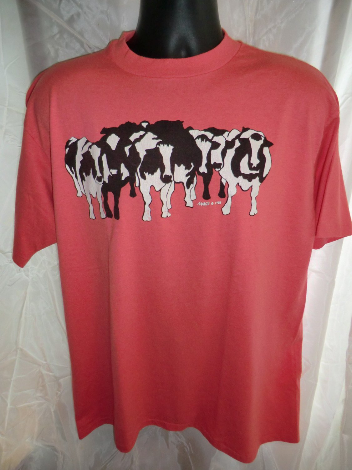 Rare Vintage 1988 Holstein Cows Cow Size Large/ XL T-Shirt