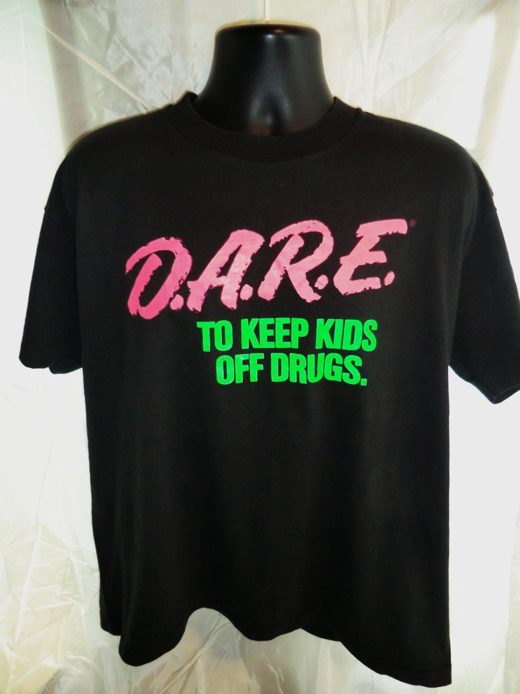 SOLD! Vintage DARE Neon Black T-Shirt Size XL Keep Kids Off Drugs