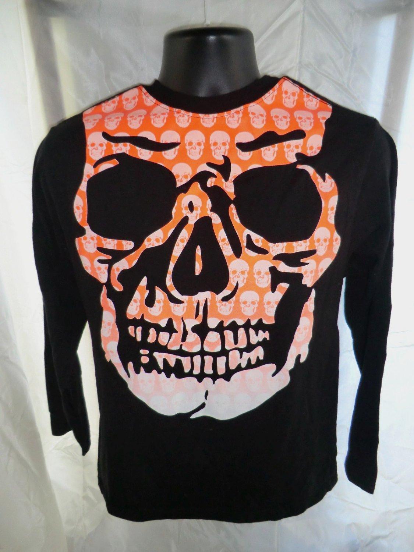 Halloween Long Sleeve Black T-Shirt Size Small or Medium Skull