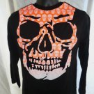 Halloween Long Sleeve Black T-Shirt Size Small or Medium Skull